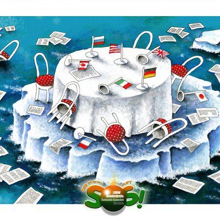 """""""Der Planet ruft SOS"""" – Karikaturausstellung und Vernissage"""