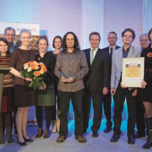 """Das Quartier Zukunft erhält den Deutschen Lokalen Nachhaltigkeitspreis 2013 in der Kategorie """"ZeitzeicheN Ideen"""" vom deutschlandweiten Netzwerk21."""