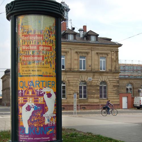 Im gesamten Karlsruher Stadtgebiet waren im März 2015 Plakat des Quartier Zukunft in den beleuchteten Citylight-Säulen zu sehen.